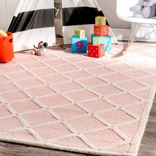 nuLOOM Handmade Abstract Fancy Trellis Wool Pink Rug (4' x 6')