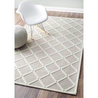 nuLOOM Handmade Abstract Fancy Trellis Wool Light Grey Rug (4' x 6')