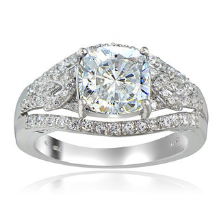 Icz Stonez Platinum Plated Sterling Silver 100 Facets Cubic Zirconia Cushion-Cut Ring