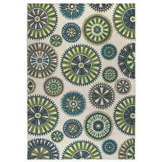 Rizzy Home Glendale Collection Power-loomed Blue/ Ivory Medallion Accent Rug (3'3 x 5'3)