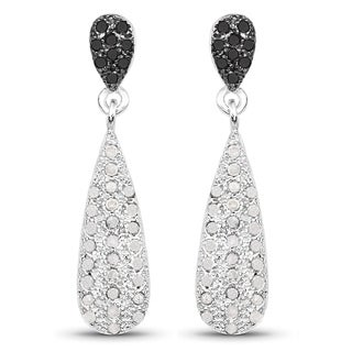 Olivia Leone Sterling Silver 4/5ct TDW White Diamond and Black Diamond Earrings (I-J, I2-I3)