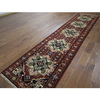 H9362 Red Wool Medallion Oriental Hand-knotted Area Rug (3' x 11')