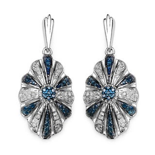 Olivia Leone Sterling Silver 1/2ct TDW Blue Diamond Vintage Drop Earrings (I-J, I2-I3)