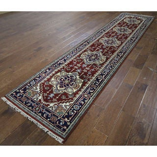 H9365 Red/ Navy Blue Wool Serapi Border Oriental Hand-knotted Rug (3' x 11')