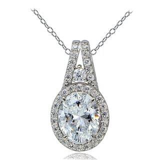 Icz Stonez Platinum Plated 4 3/4ct TGW 100 Facets Cubic Zirconia Oval Necklace