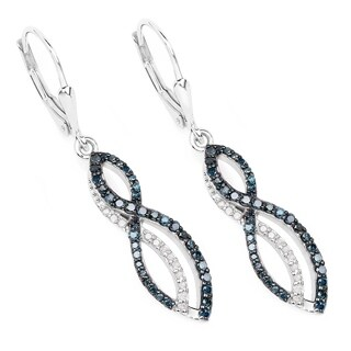 Olivia Leone Sterling Silver 3/4ct TDW Blue Diamond Infinity Earrings