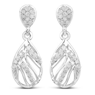 Olivia Leone Sterling Silver 1/2ct TDW Diamond Earrings