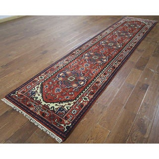 H9366 Rust Wool Floral Serapi Oriental Hand-knotted Rug (3' x 13')