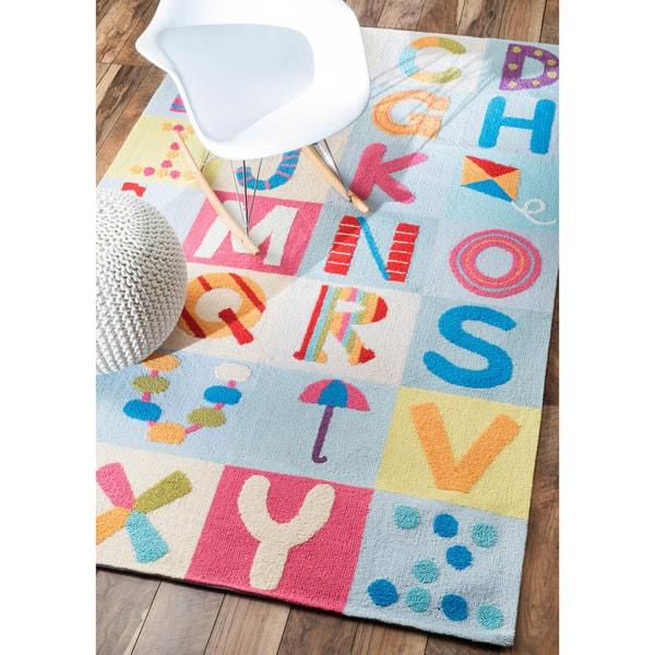 Nuloom Handmade Children X27 S Alphabet Kids Nursery Multi Rug