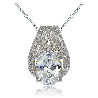 Icz Stonez Platinum Plated Sterling Silver 100 Facets Cubic Zirconia Oval Slide Necklace