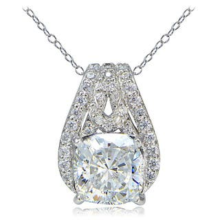 Icz Stonez Platinum Plated Sterling Silver 100 Facets Cubic Zirconia Cushion-Cut Slide Necklace|https://ak1.ostkcdn.com/images/products/11131064/P18131409.jpg?impolicy=medium