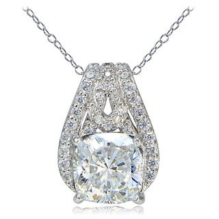 Icz Stonez Platinum Plated Sterling Silver 100 Facets Cubic Zirconia Cushion-Cut Slide Necklace