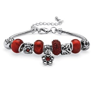 "PalmBeach Birthstone Bali-Style Beaded Charm and Spacer Bracelet in Silvertone 7"" Color Fun"