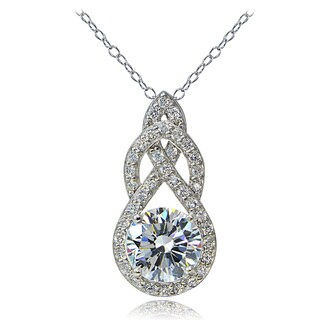Icz Stonez Platinum Plated Sterling Silver 100 Facets Cubic Zirconia Infinity Drop Necklace