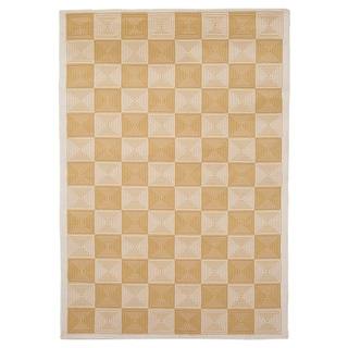 Rizzy Home Glendale Collection Power-loomed Ivory Checkered Accent Rug (3'3 x 5'3)
