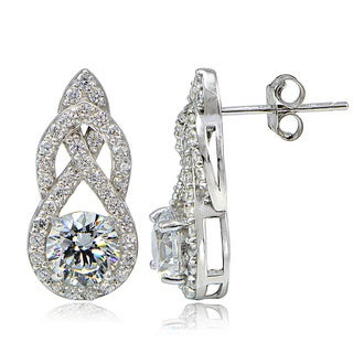 Icz Stonez Platinum Plated Sterling Silver 100 Facets Cubic Zirconia Infinity Drop Earrings