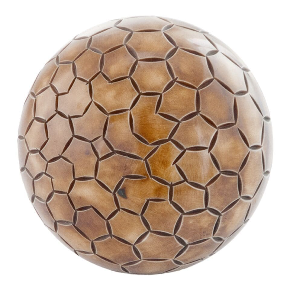 Pentagono Etched Bone Sphere (Natural)