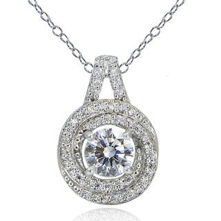 Icz Stonez Platinum Plated Sterling Silver 100 Facets Cubic Zirconia Love Knot Necklace