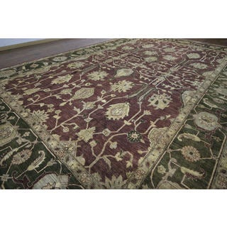 H9374 Red Wool Floral Chobi Oriental Hand-knotted Rug (12' x 18')
