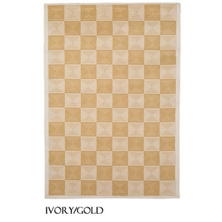 Rizzy Home Glendale Collection Power-loomed Ivory Checkered Area Rug - 7'10 x 10'10