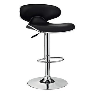 Powell Marissa Chrome and Black PU Barstool