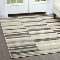 "Home Dynamix Oxford Collection Taupe/Grey Striped Area Machine Made Polypropylene Area Rug (5'2 x 7'2) - 5'2"" x 7'2"""