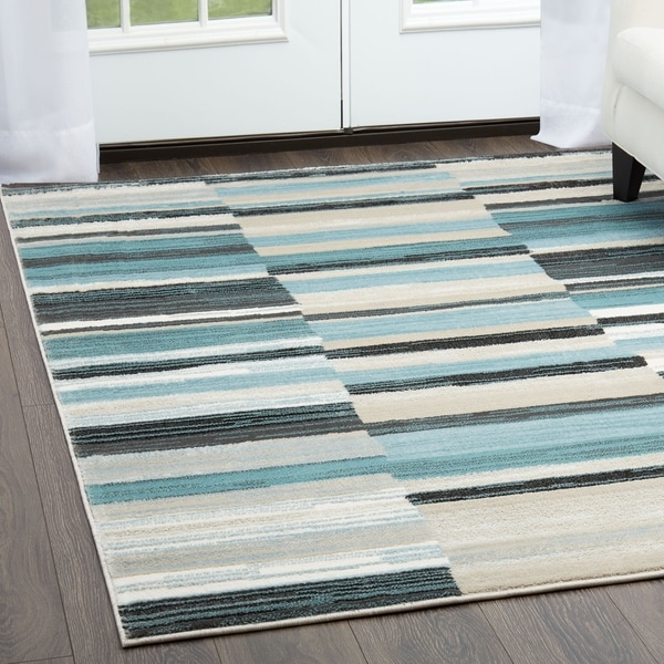 Home Dynamix Oxford Collection Blue/Grey Striped Area Machine Made Polypropylene Area Rug (7'10 x 10'2) - 7'10 x 10'2