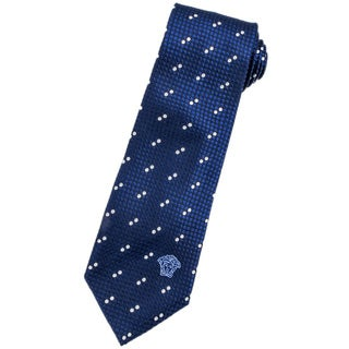 Versace Blue/ White Italian Silk 3-inch Wide Neck Tie