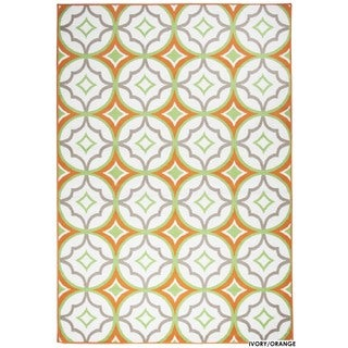 Rizzy Home Glendale Collection Power-loomed Ivory Patterned Geometric Accent Rug (3'3 x 5'3)