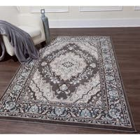 Home Dynamix Oxford Collection Ornamental Grey Area Rug (7'10 x 10'2) - 7'10 x 10'2