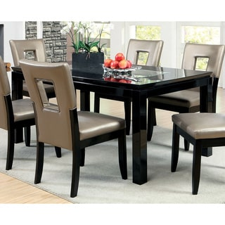 furniture of america evantel mirror insert black dining table