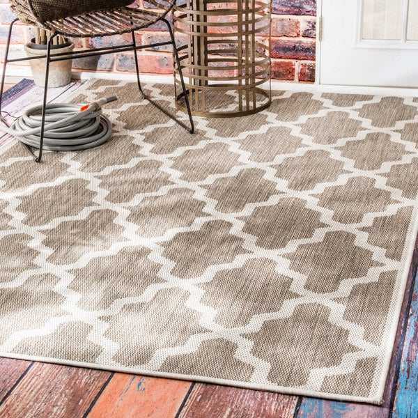 Clay Alder Home Colville Moroccan Trellis Indoor/ Outdoor Taupe Area Rug - 8'6 x 13'