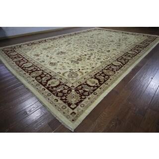H9377 Ivory Wool Oushak Peshawar Chobi Hand-knotted Rug (12' x 18')