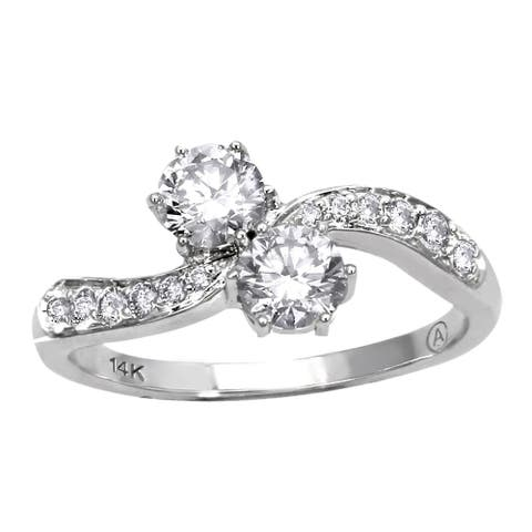 14k White Gold 1/2ct TDW 2-Stone Diamond Ring