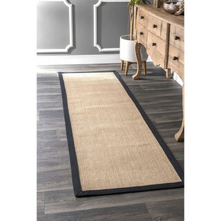 Havenside Home Clearwater Handmade Black Cotton Border Sisal Runner Rug - 2'6 x 10'