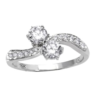 Beverly Hills Charm 14k White Gold 1ct TDW 2-Stone Diamond Ring
