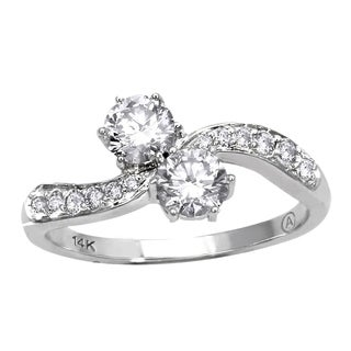 14k White Gold 1ct TDW 2-Stone Diamond Ring