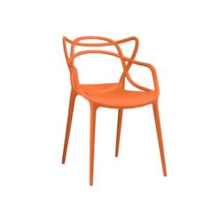 Masters Polypropylene Orange Modern Stackable Arm Chair (Set of 4)