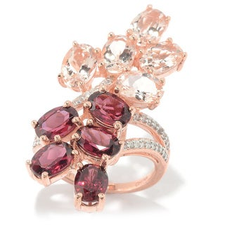 18k Rose Gold Vermeil Over Silver Rhodolite, Morganite and White Zircon Elongated Ring