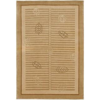 ecarpetgallery Silk Touch Beige 97-percent Wool and 3-percent Silk Rug (4'0 x 5'10)