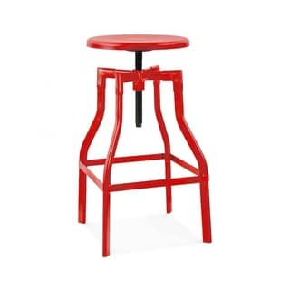 Machinist Glossy Red Adjustable Steel Barstool