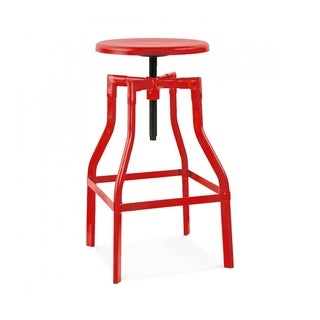 Machinist Glossy Red Adjustable Steel Barstool 26-32 Inch
