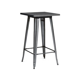 Amalfi Dark Gunmetal Steel Bar Table 42 Inch