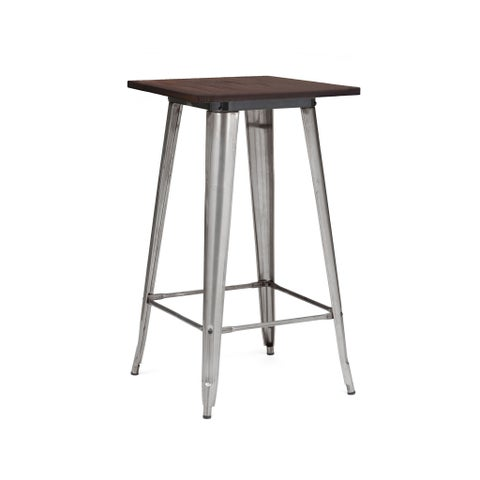 Amalfi Gunmetal Elm Wood Top Steel Bar Table 42 Inch