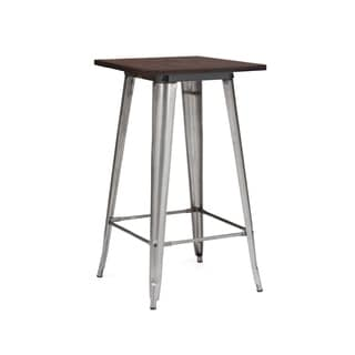 Amalfi Clear Gunmetal Wood Top Steel Bar Table