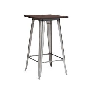 Amalfi Gunmetal Elm Wood Top Steel Bar Table 42 Inch