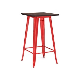 Amalfi Glossy Red Elm Top Steel Bar Table 42 Inch