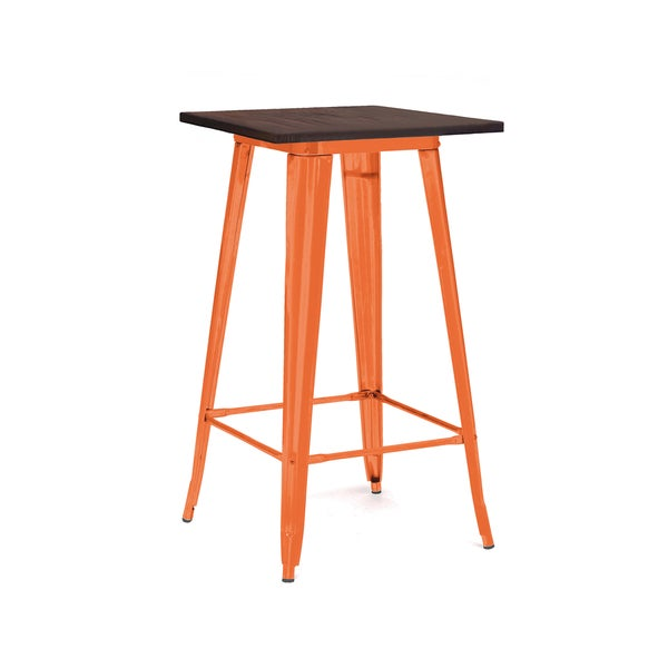 Amalfi Glossy Orange And Elm Steel Bar Table 18131641