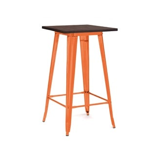 Amalfi Glossy Orange Elm Wood Top Steel Bar Table 42 Inch