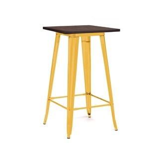 Amalfi Glossy Yellow Elm Wood Top Steel Bar Table 42 Inch